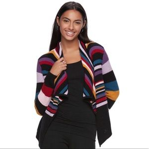 trendy multi stripe knit waterfall cardigan